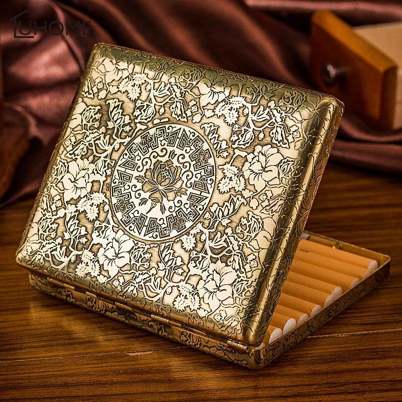 Vintage Peony Copper Cigarette Case Hold Men's Gift 20pcs Cigarette Box Business Men Cigar Case Gadget For Smoker Smoke Tools