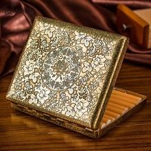 Caja de cigarrillos de cobre peonía Vintage para hombres, caja de cigarrillos de 20 piezas, caja de cigarrillos de negocios para hombres, Gadget para ahumador, herramientas para fumar