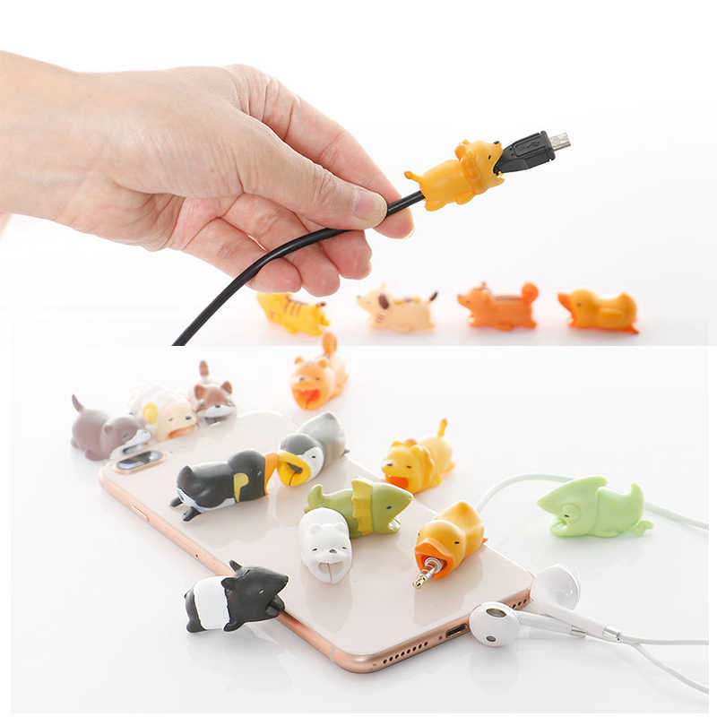 Nieuwe Leuke Animal Bite Winder Voor Iphone Usb Kabel Protector Charger Organizer Chompers Cartoon Beten Telefoon Houder Accessoire