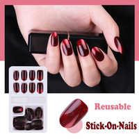 New Hot Reusable Stick-On-Nails 24pcs Reusable Full Cover False Nail Artificial Tips Press On Nails Art Stick on Nails Tips