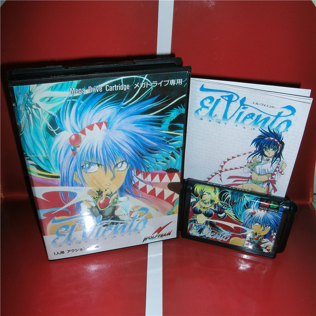 MD games card   EL Viento Japan Cover with Box and Manual for MD MegaDrive Genesis Video Game Console 16 bit MD card