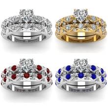 Yo y FDLK 2 unids/set moda corazón anillos Exquite anillo de cristal de zirconio para las mujeres boda banda de regalo de la joyería