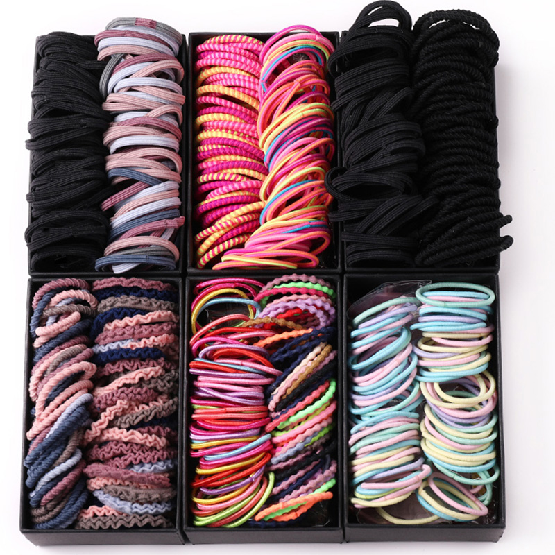 2020 New 100/200PCS/Set Box Packed Girls Colorful Elastic Hair Bands Ponytail Holder Scrunchie Headband Fashion Hair Accessories