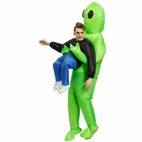 Christmas Halloween Costume for Women Men Inflatable Green Alien Cosplay Adult Funny Blow Up Suit Party Fancy Dress
