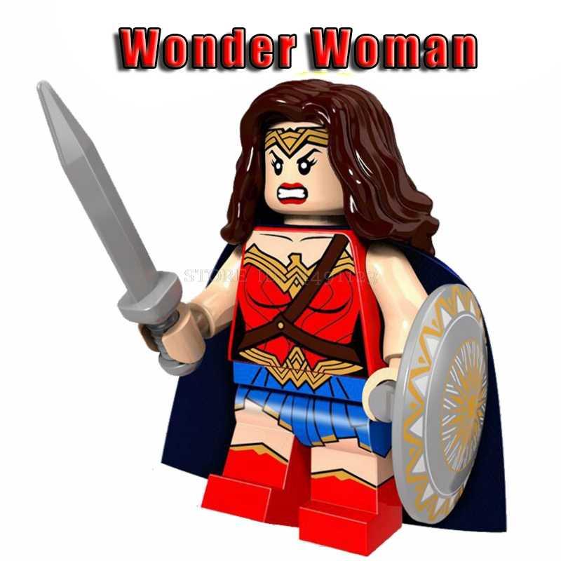 عجب امرأة مجموعة DC فيلم سوبر أبطال آريس باتمان بناء كتل الطوب لعب الاطفال أعجوبة المنتقمون الارملة السوداء الحديد رجل أرقام