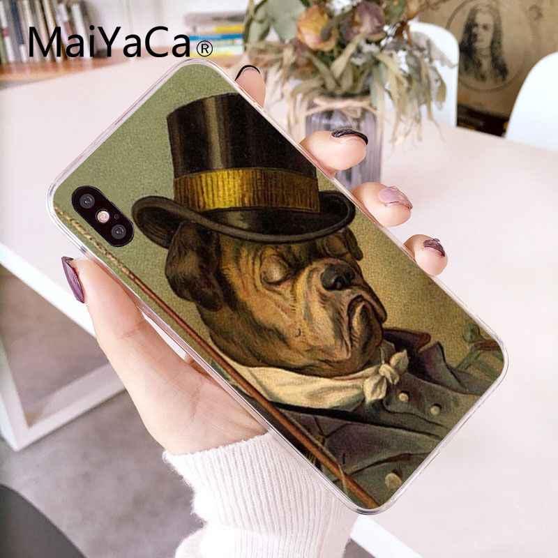 MaiYaCa животное тигр Собака Кошка костюм джентльмен Искусство Красочный милый чехол для телефона iPhone 8 7 6 6S Plus X XS MAX 5 5S SE XR 10 чехлов