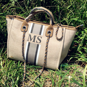 Custom Fashion Monogrammed Canvas and Leather Travel Tote Bags, Custom striped with initials Mommy Shopping Jute Beach Tote Bag