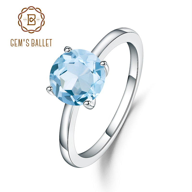 Gem's Ballet 2.57Ct Natural Sky Blue Topaz 925 Sterling Silver Gemstone Solitaire Wedding Engagement Ring For Women Fine Jewelry