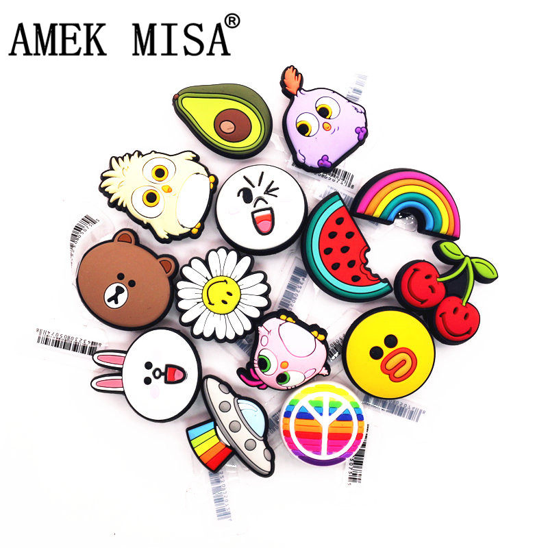 High Imitation 1Pcs Fruit Shoe Charms Accessories Cute Funny Chick Sunflower Shoe Decoration For Jibz Kid's Party X-mas Gifts