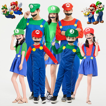 Classic Super Mario Cosplay Costumes Child Adult Mario Bros Plumber Jumpsuits+Beard+Hat Women Girls Dress Skirt Party Halloween