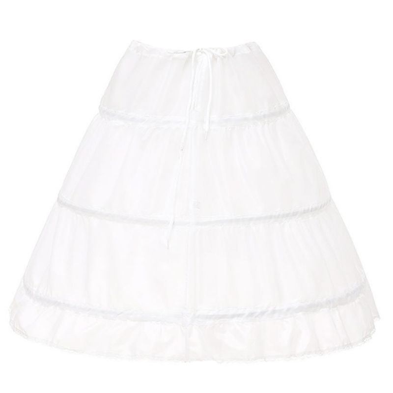 Flower Girls 3 Hoops Petticoat Adjustable Drawstring Waist Crinoline Skirt Princess Ball Gown Wedding Dress Ruffles Underskirt