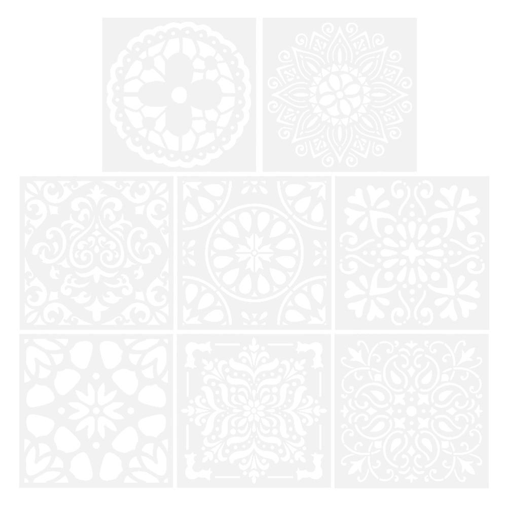 8pcs Premium Reusable Stencils Set Hollow out Mandala Painting Stencil Floor Wall Tile Fabric Wood Stencils