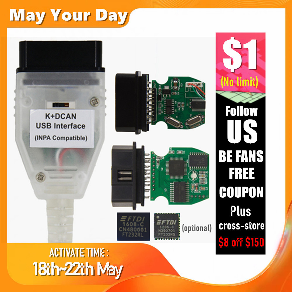 Best Quality Full Chip For BMW INPA K DCAN K+CAN FT232RL FT232RQ USB Diagnostic Interface INPA Compatible For BMW Series