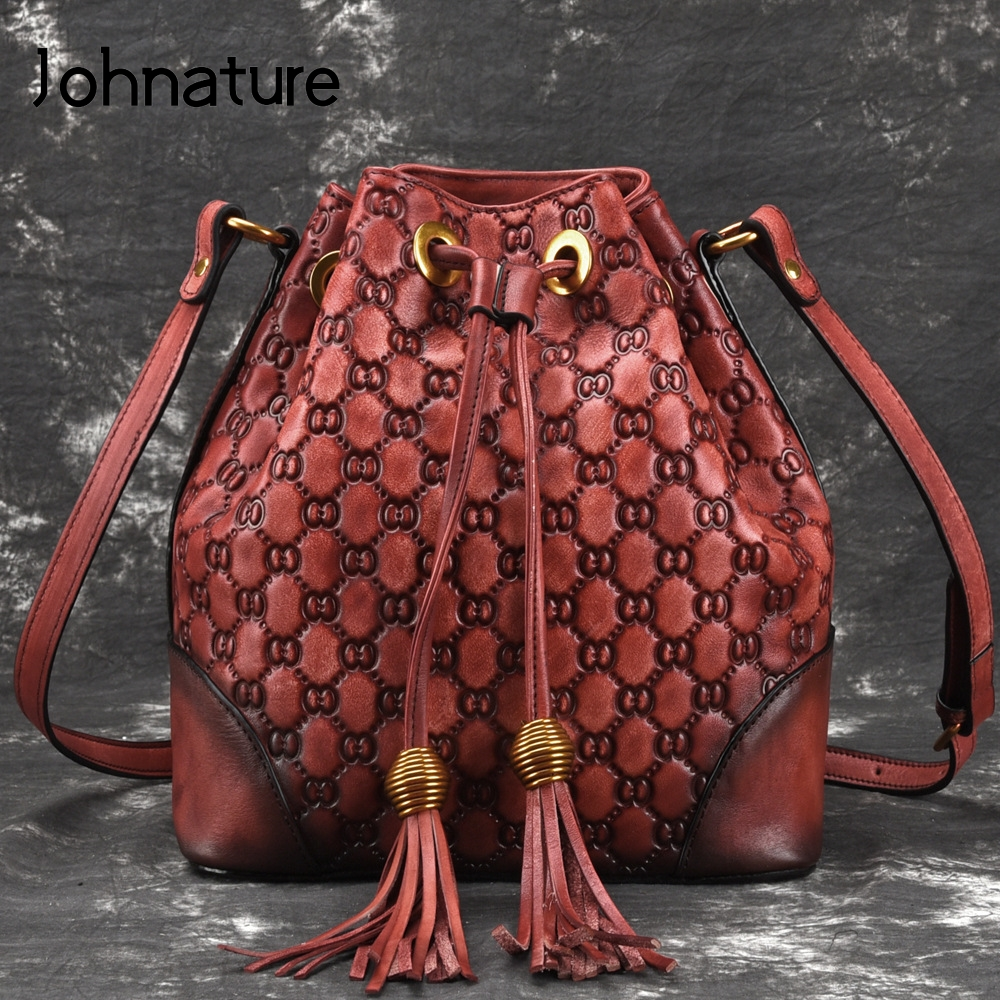 Johnature 2019 New Women's Bags Bucket Genuine Leather Vintage Letter String Versatile Shoulder & Crossbody Bags Fashion Bags