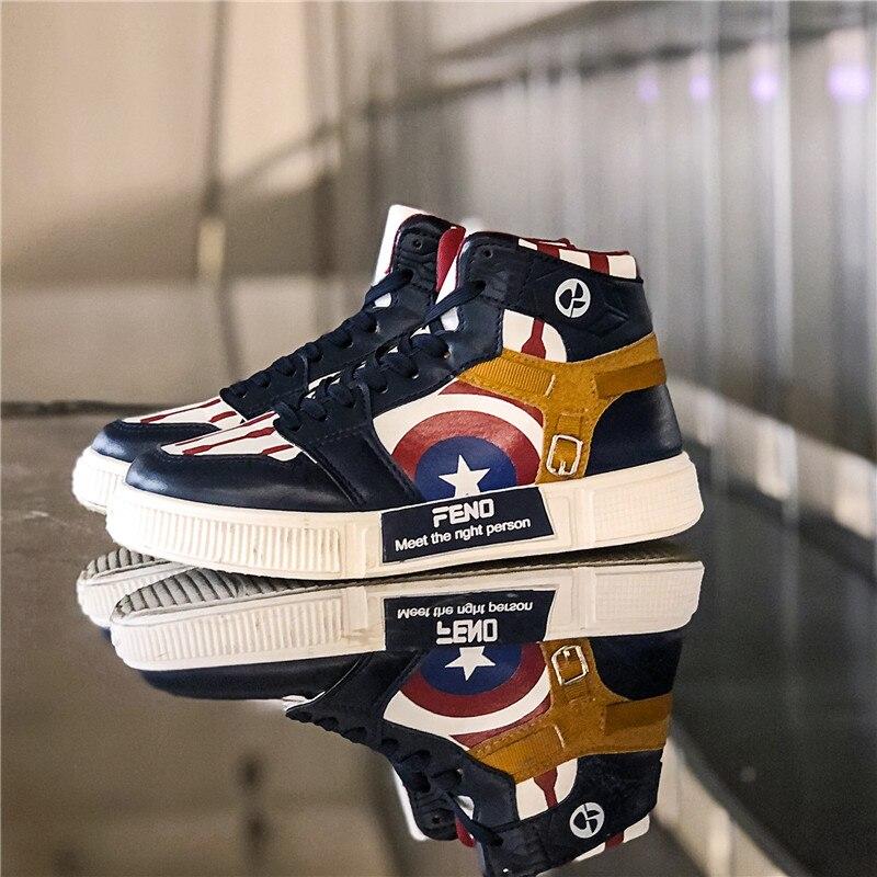 Новинка; мужская повседневная обувь с высоким берцем; модные брендовые кроссовки с мягкой подошвой; Легкая спортивная обувь на плоской подошве; обувь для пары с капитаном Америкой