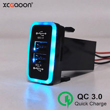 XCGaoon QC3.0 Quickcharge شاحن سيارة مزدوجة USB الهاتف PDA DVR قابس مهايئ والتشغيل كابل لتويوتا هايلكس فيجو(China)