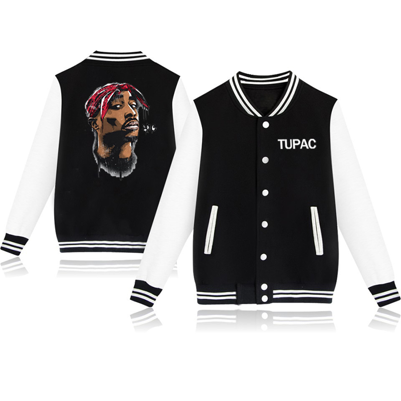 Tupac Baseball Jacket Women Men Sweatshirt Streetwear Clothes Hip Hop Harajuku Jackets And Coats Winter Coats Casual Tracksuit