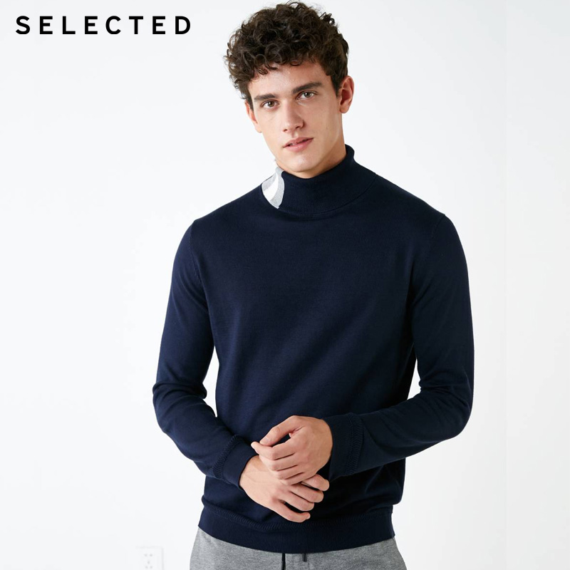 SELECTED Mens 100% Cotton Stripe Stitching Knitted Turtleneck Sweater| 418424523