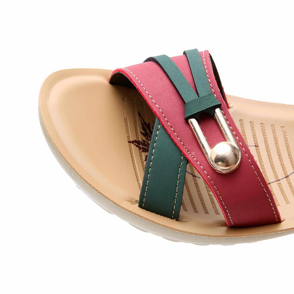 SAGACE נשים גדול גודל סנדל טלאי עור טריזי תחתית נעלי גבירותיי מקרית נוחות החלקה חוף סנדלי נעליים