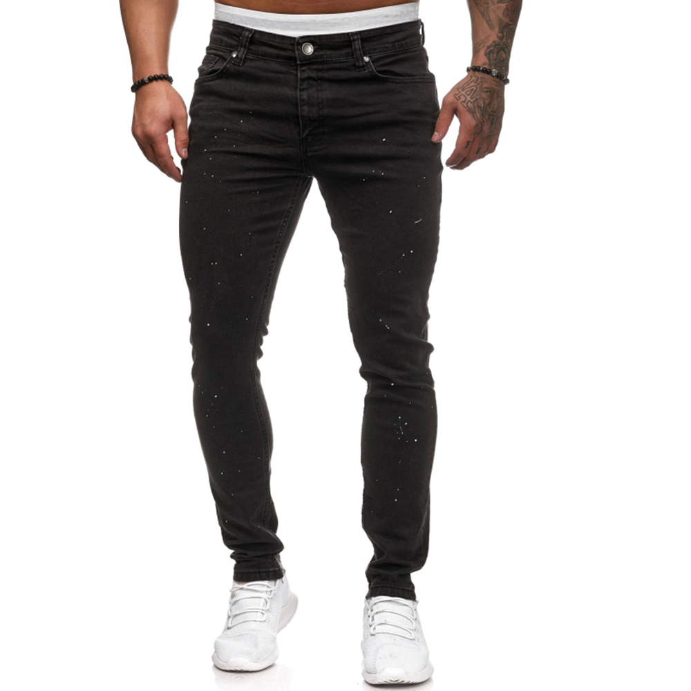 Black Jeans Men Classic Men's Slim Pencil Pants 2019 New Stylish Mens Skinny Elastic Jeans Mid Waist Denim Trouser For Male D25