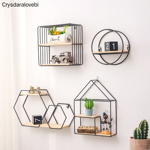 Metal Iron Wooden Storage Rack Multi Shape Storage Holders Black/Gold Nordic Wall Shelf DIY Home Decor