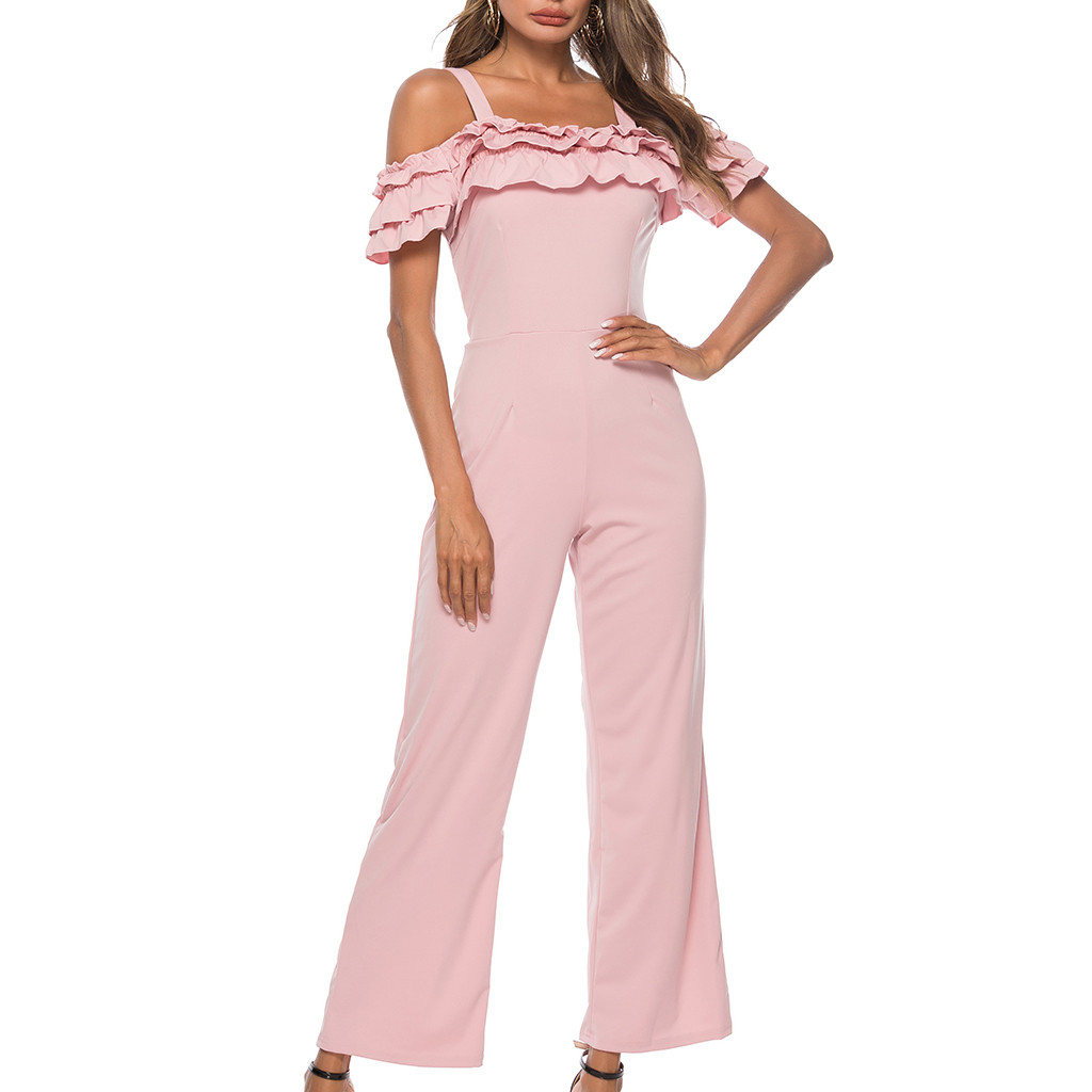 Womail Solid Sling Jumosuits Women's Sexy Solid Off Shoulder Sleeveless Slash-Neck  Summer Casual Rompers Elegant Jumpsuit