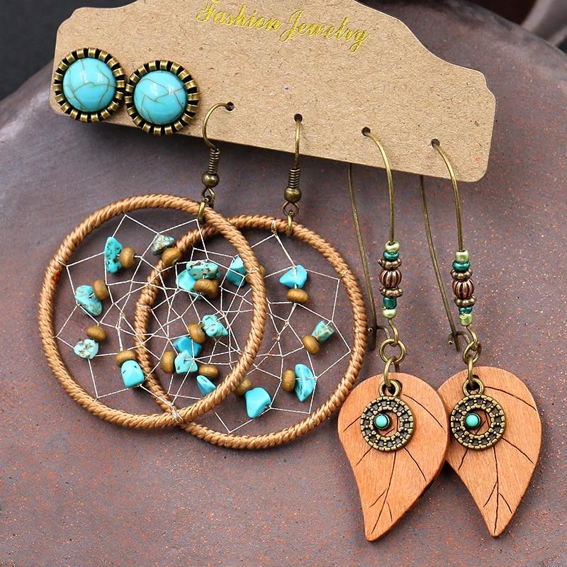 Bohemian Hollow Dream Catcher wooden Leaf Long Earrings For Women Indian Jewelry Blue Natural Stone Drop Dangle Earrings Brincos