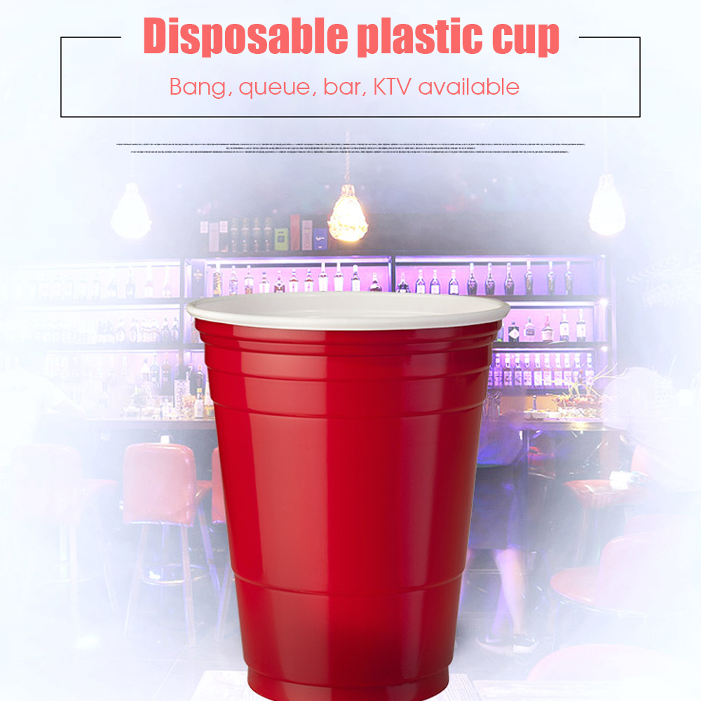 50Pcs/Set 450ml Red <font><b>Disposable</b></font> Plastic <font><b>Cup</b></font> Party <font><b>Cup</b></font> Bar Restaurant Supplies Drinking <font><b>Cups</b></font> Washable Perfect Funny <font><b>Beer</b></font> Games image