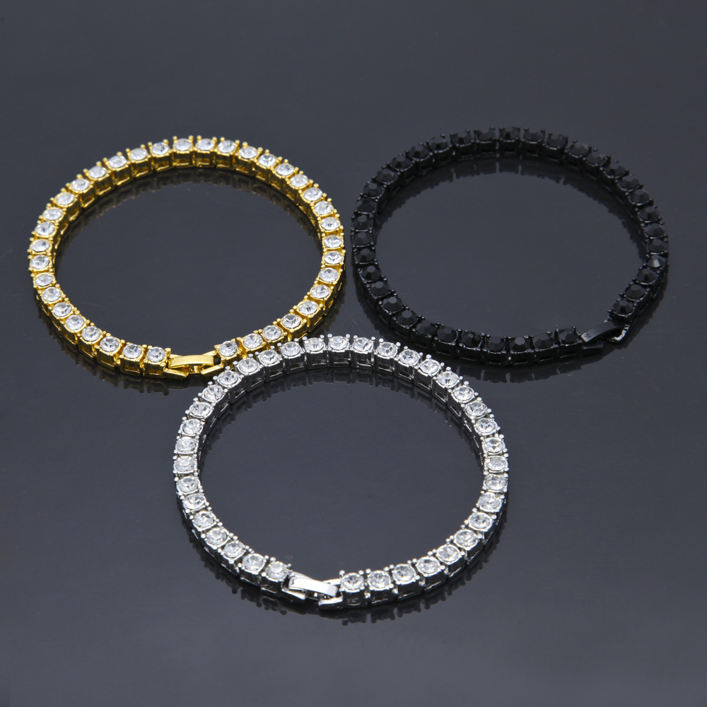 Hip hop Bling Iced Out Cubic Zirconia Bracelet Tennis Chain Bracelets Women Men 1 Row CZ Link Chain Jewelry Gold Silver Color