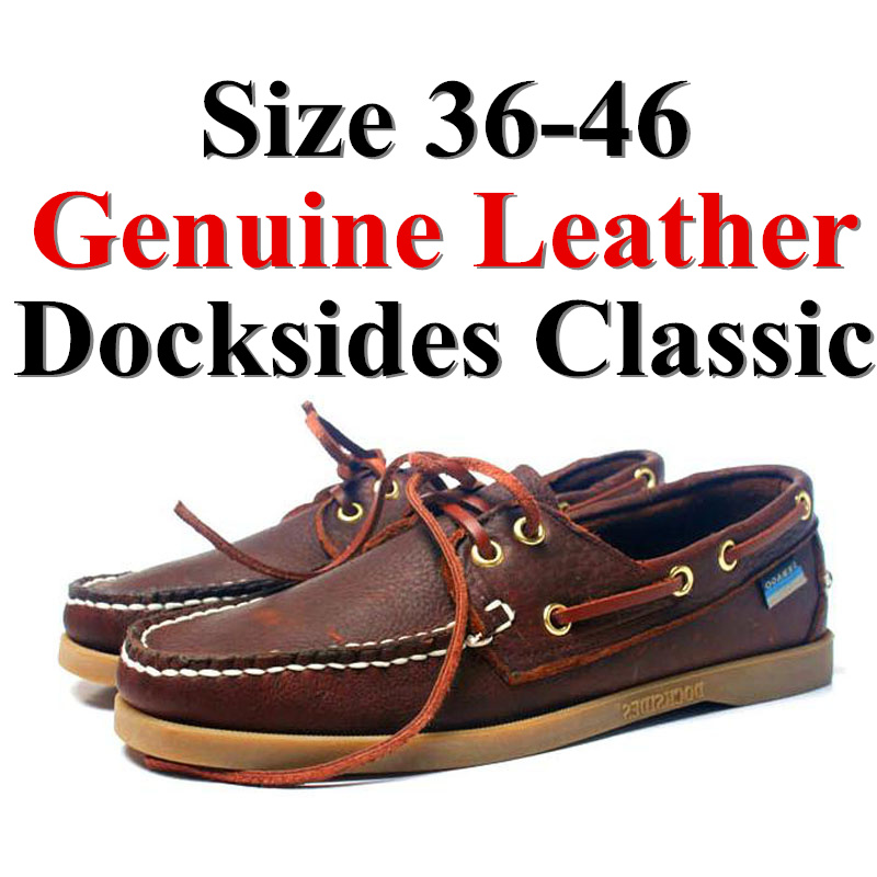 Men Women Genuine Leather Docksides Classic Boat Shoes,Man Homme Femme Red Brown Plus Size 36-46 Brand Flats Loafers 2019A088