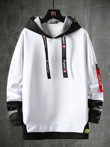 Male Hoodies Sweatshirts Hipster Harajuku-Tops Letter Streetwear Printed Hip-Hop Japanese-Style