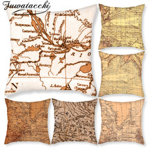 Fuwatacchi World Map Pillow Covers Retro Old Map Christmas Gift Cushion Cover for Home Sofa Decorative Throw Pillowcase 45*45cm retro world map pattern flax square shape pillowcase without pillow inner