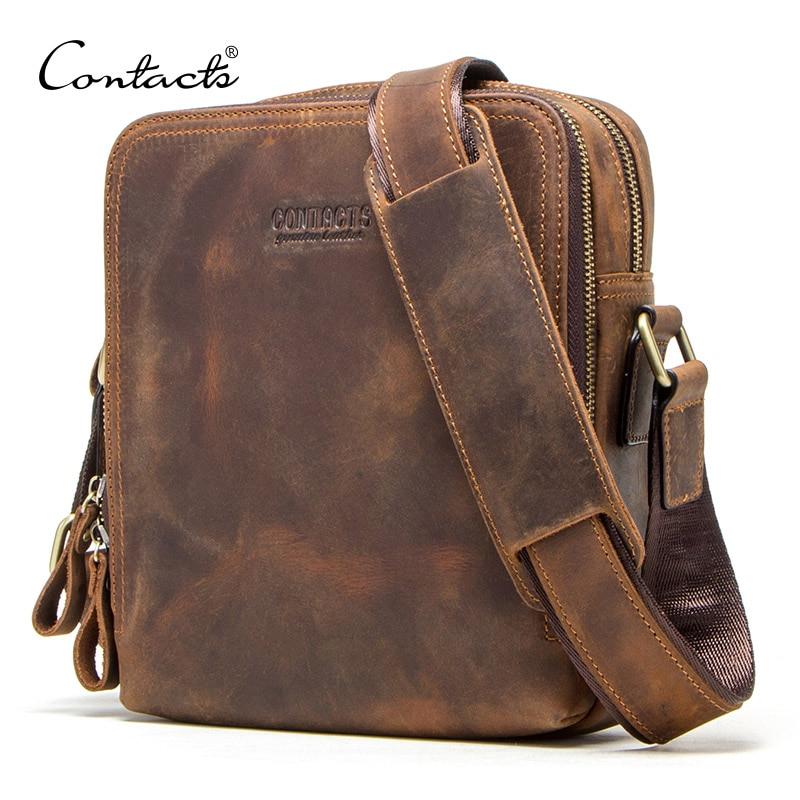 CONTACT'S 2020 New Genuine Leather Men's Messenger Bag Vintage Shoulder Bags For 7.9