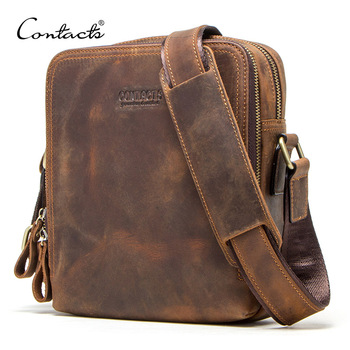"""CONTACT'S 2020 new genuine leather men's messenger bag vintage shoulder bags for 7.9"""" Ipad mini high quality male crossbody bag"""