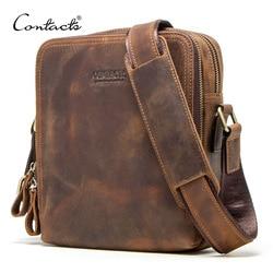 Contact's 2020 Nieuwe Echt Leer Mannen Messenger Bag Vintage Schoudertassen Voor 7.9 Ipad Mini Hoge Kwaliteit Mannelijke crossbody Tas