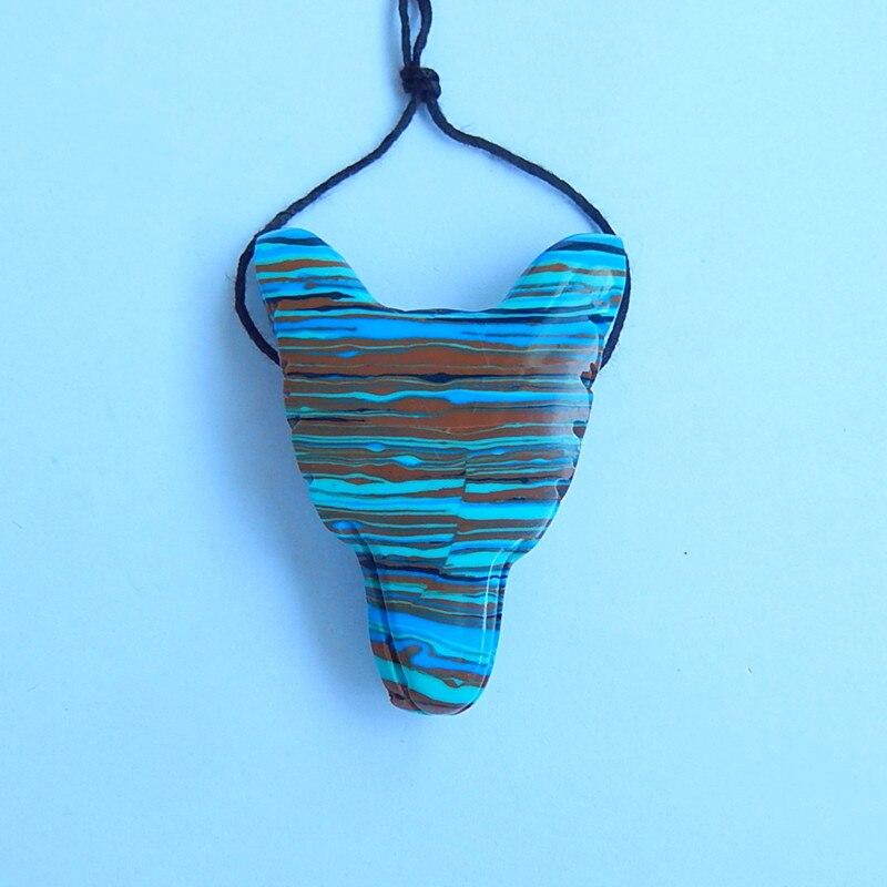 Custom orders carved Rainbow jasper handmade wolf head pendants,44x33x13mm,14.8g