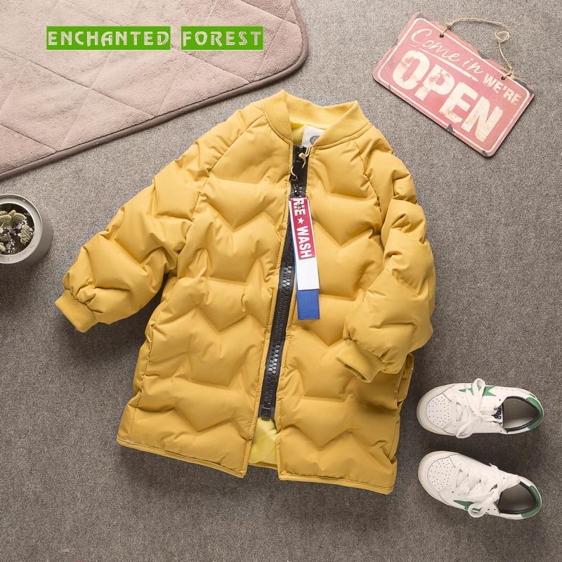 Girl Parkas 2018 new Children's Thicken cotton coat Children's winter children's cotton coat plus velvet baby coat Lengthen