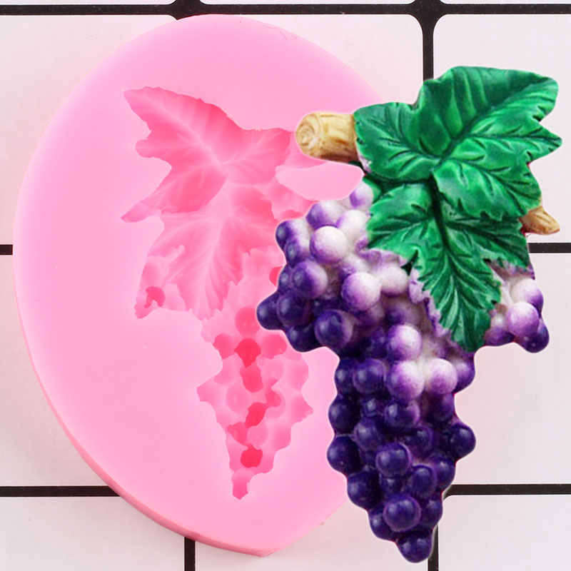 DIY Grapes Silicone Mold Resin Leafy Vines Fondant Cake Border Decorating Tool