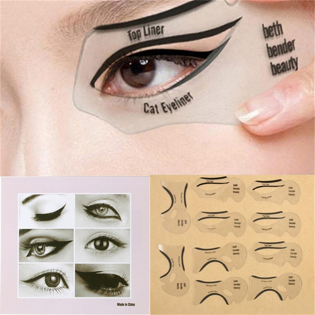 10PCS Pro Eyeliner Eye Shadow Stencils Winged Eyeliner Stencil Models Template Shaping Tools Eyebrows Template Card Makeup Tool 2