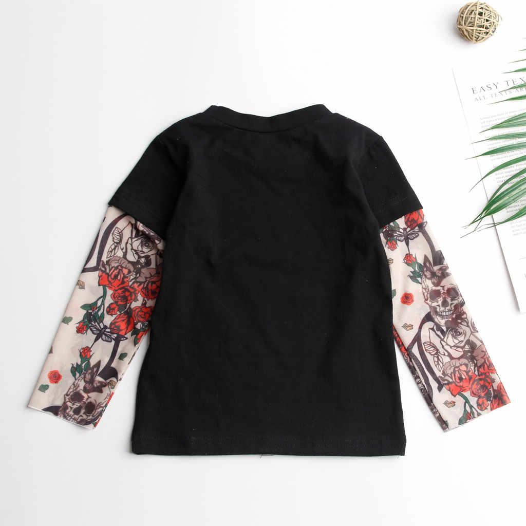 Balita Bayi Anak-anak Anak-anak T-shirt dengan Mesh Tato Dicetak Lengan Floral Tee Tee Atasan Pullover Anak-anak O-neck Hip Hop Rock tshirt