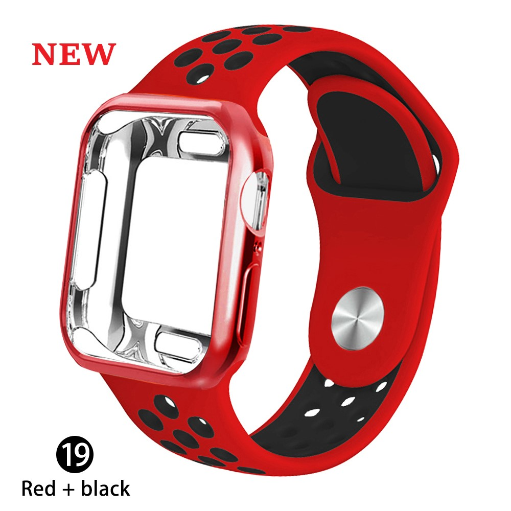 Case + strap for Apple Watch 5 band 42mm 38mm 40mm 44mm sports silicone bracelet for apple iwatch series 5 4 3 2 1 Accessories image