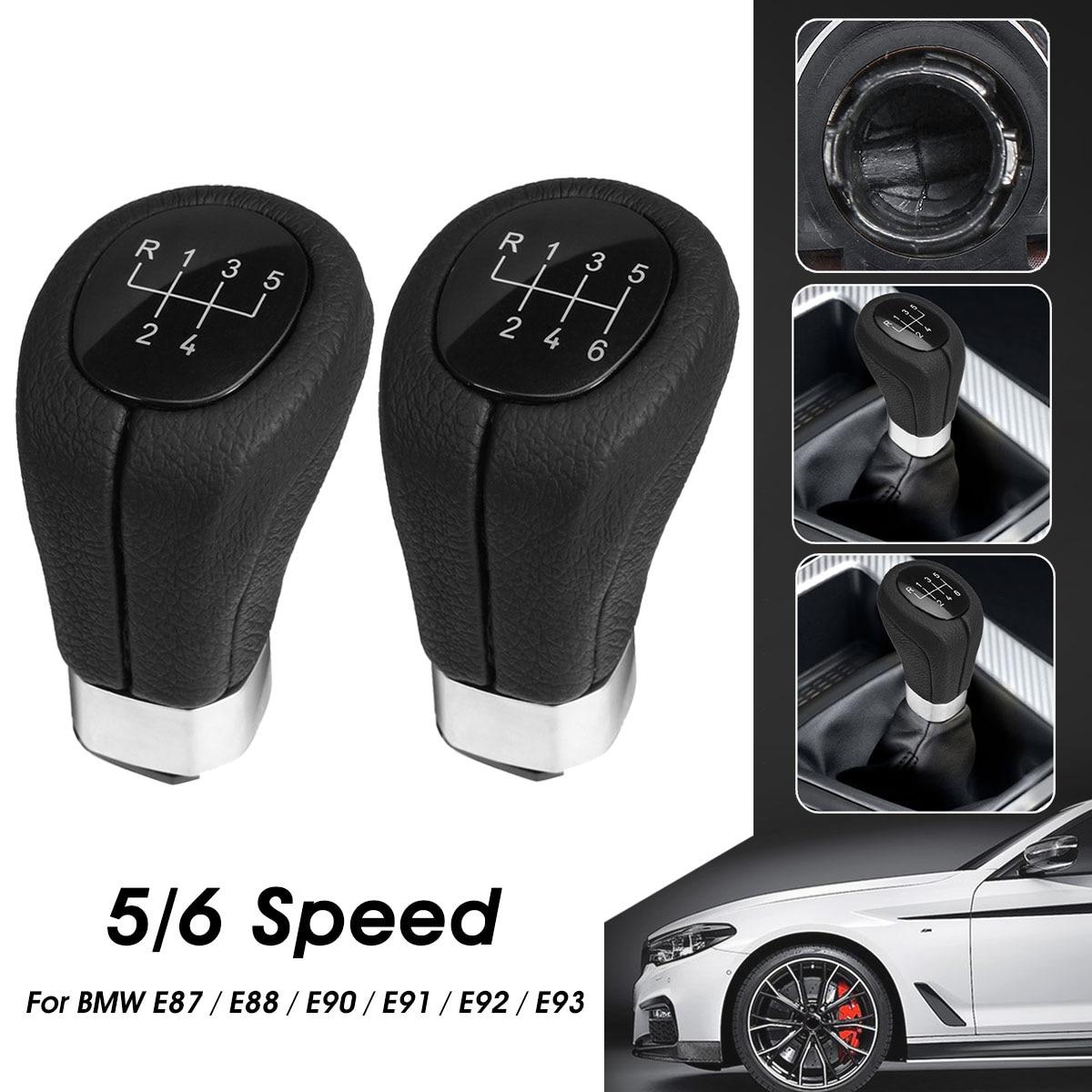 Gear Shift Knob Leather 5 Speed for BMW 1 3 Series E82 E88 E90 E91 E92 E93
