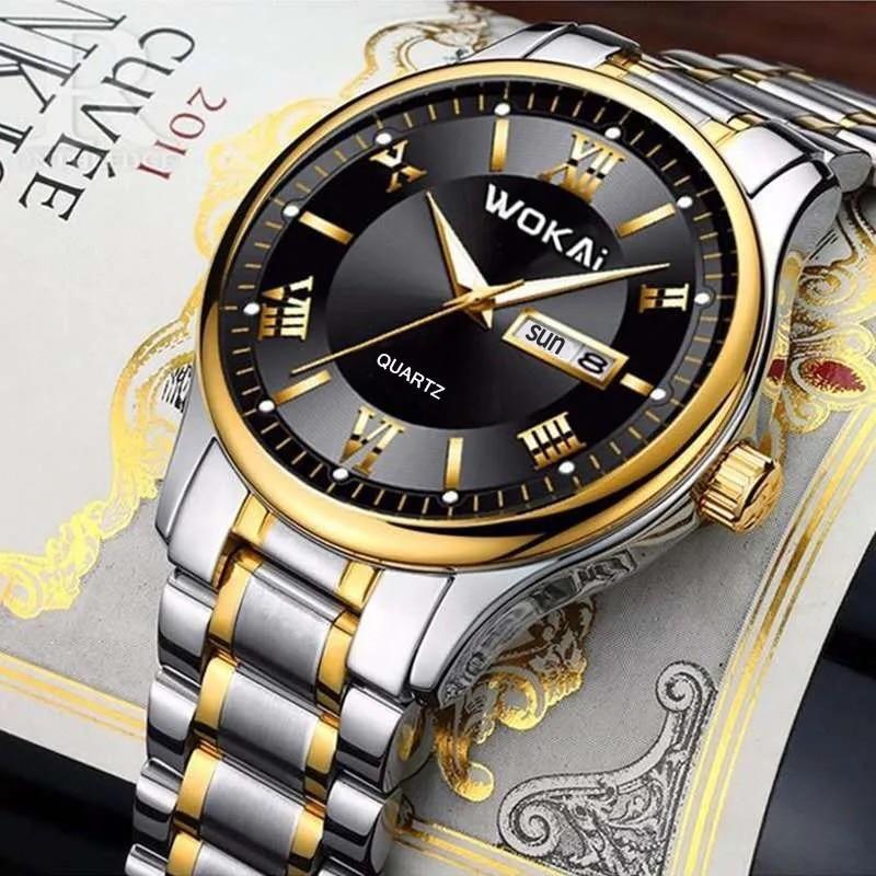 WOKAI 2020 nowych moda mężczyzna podwójny zegarek z kalendarzem zegarki ze stali nierdzewnej Top marka luksusowe sportowe kwarcowy zegarek mężczyzn