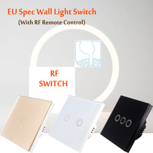 86 type touch smart switch, EU Spec, RF433HMz remote control, Tempered glass panel, environmentally frie