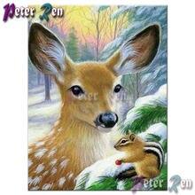 5d алмазная Картина Вышивка крестом Зимние Животные Олень и