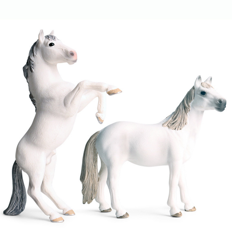 White <font><b>Horse</b></font> <font><b>Model</b></font> Action <font><b>Figure</b></font> Wild Animal Action <font><b>Figures</b></font> Collection PVC Children Cognitive <font><b>Toys</b></font> image