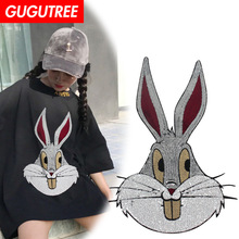GUGUTREE embroidery Sequins big rabbit patches animal cartoon patches badges applique patches for clothing YYX-19121003 gugutree embroidery big dragon patches animal patches badges applique patches for clothing dx 18