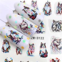 LCJ Новое поступление наклейки для ногтей с тигром/котом серия водная наклейка цветочный растительный узор 3D маникюрные наклейки Водные Наклейки Для Ногтей