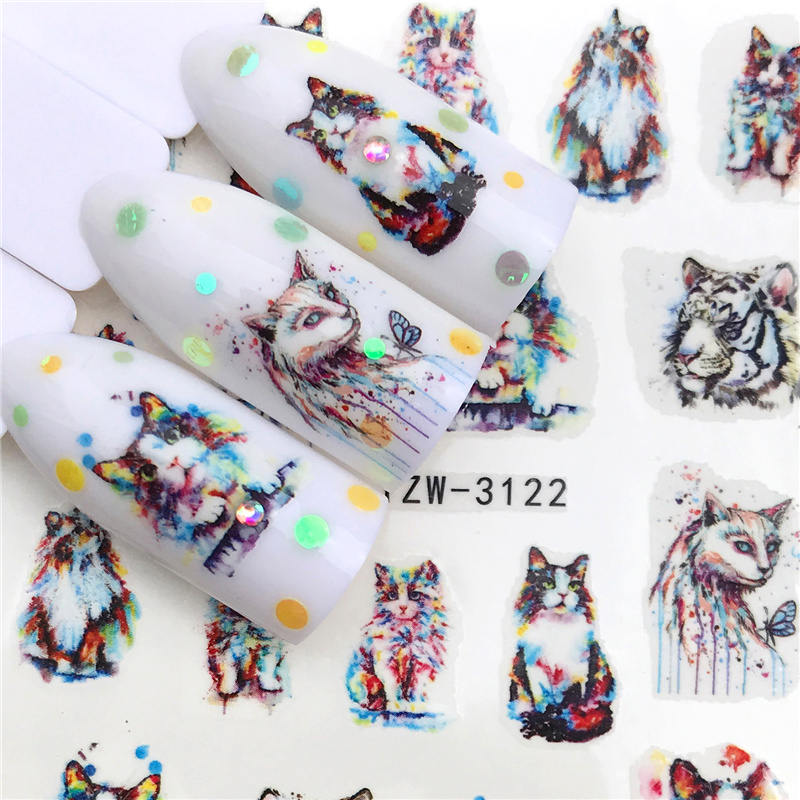 LCJ 2020 New Arrivial Nail Stickers Tiger/Cat Series Water Decal Flower Plant Pattern 3D Manicure Sticker Nail Water Sticker