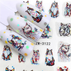 Image 1 - LCJ 2020 New Arrivial Nail Stickers Tiger/Cat Series Water Decal Flower Plant Pattern 3D Manicure Sticker Nail Water Sticker
